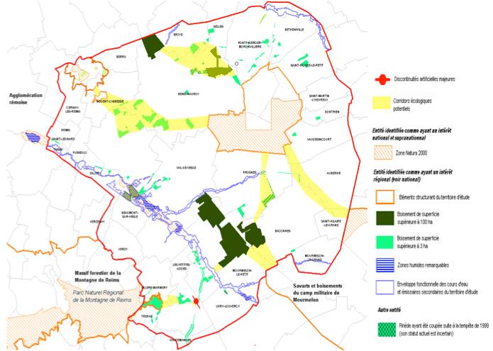 Carte mettant en évidence les corridors potentiels d'intérêt régional à suprarégional reliant les différentes entités majeures du territoire