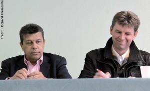 Xavier Beulin (président de la FNSEA, à g), et Hervé Lapie (agriculteur et président de Symbiose)